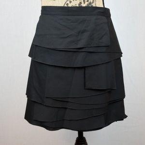 BCBGMaxAzria tiered layered black mini skirt C322